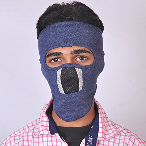 Blue, Grey Black Ninaj Full Face Cover Mask WOOVEN LINER Suitable for BIKE RIDERS ANTI POLLUTION MASK With Velcro Closure  available at amazon for Rs.194