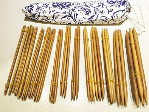 80 Stück 22cm karbonisierte Bambus Stricknadeln (2mm-12mm) doppelt gespitzt mit Hülle - Häkeln by DURSHANI -