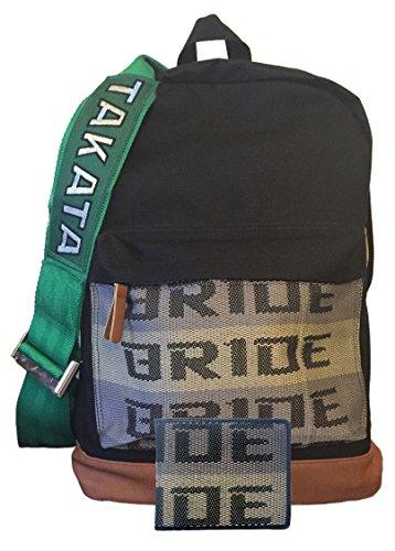 Bride Takata Rucksack JDM mit grünem Rennsportgurt als Riemen und einem schönen, grün gepolsterten Taschenfach für Ihren 15-Zoll-Laptop plus Bride-Zweifach-Brieftasche (Bride Takata JDM backpack) (Autos Bi-fold Wallet)