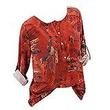 TianWlio Frauen Langarmshirt Bluse Hoodie Pullover Langarmshirt Kapuzenpullover Sweatshirt Herbst Lässige Blumenmuster Langarm O-Ausschnitt T-Shirt Button Top Bluse