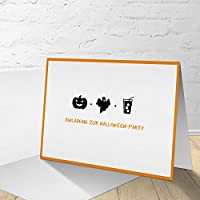 "5 Halloween Party Cards with Matching Envelopes, Halloween Party Invitations, Folding Card""Icon"" in Set of 5"