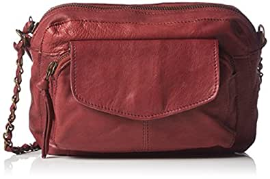 PIECES Ps Naina Leather Cross Over Bag 17059919 Damen Umhängetaschen 21x15x5 cm (B x H x T), Rot (Burgundy)