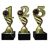 RaRu 3 Tischtennis-Pokale (1, 2, 3H) mit blauen Emblemen und Ihrer Wunschgravur