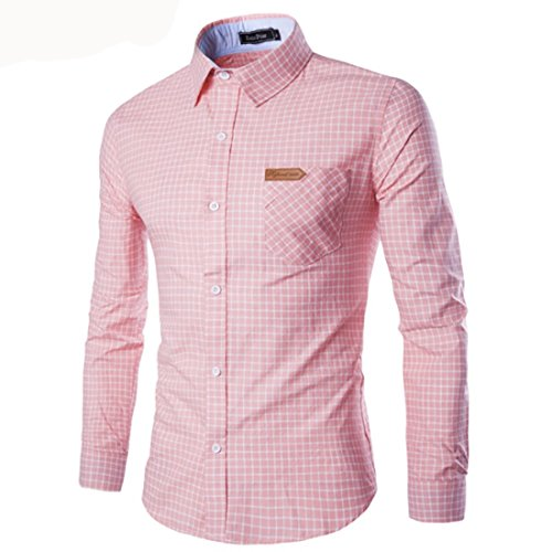 Men's Fashion Contrast Color Collar Long Sleeve Slim Fit Shirts pink