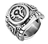 XCXZM Punk Hip Hop World of Warcraft Wow Tribe Anillos del Acero Inoxidable para Hombre