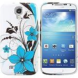 kwmobile Hülle TPU Silikon Case für Samsung Galaxy S4 Mini mit Blumenmuster Design - Handy Cover Schutzhülle in Blau Schwarz Weiß
