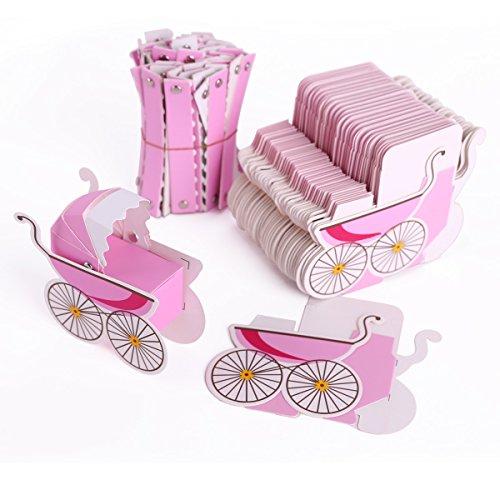50 pezzi carta bomboniera scatola rosa confetti di nascita bambino compleanno passeggino infante
