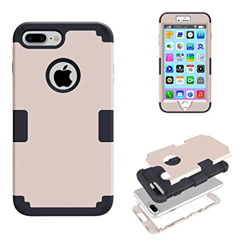 "iPhone 7 Plus (5.5"") Étui Cuir , SHANGRUN Armor Heavy Duty Series Dual Layer Full-body Flexible Rubber And Hard PC 3 In 1 Hybrid Protecteur Arrière Ceinture Holster Etui Housse Cover Case pour iPhone  Blanc"