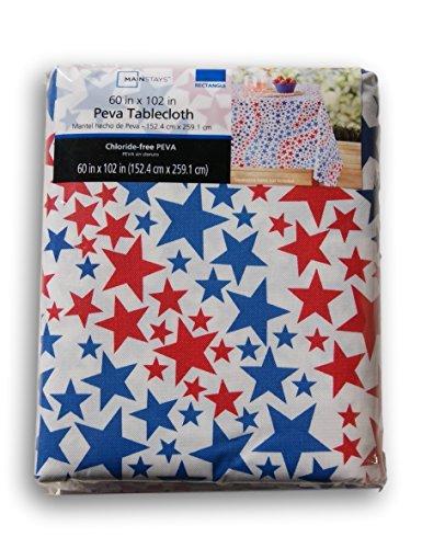 Sommer Patriotische rot weiß und blau Sterne rechteckig Vinyl Tischdecke, Vinyl, weiß, 60 x 102 in (Vinyl Tischdecke X 102 60)