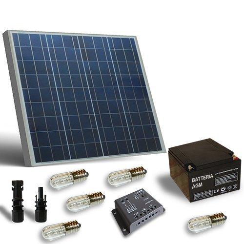 Kit Solare Votivo 50W Pannello Fotovoltaico, Batteria, Regolatore di carica, LED