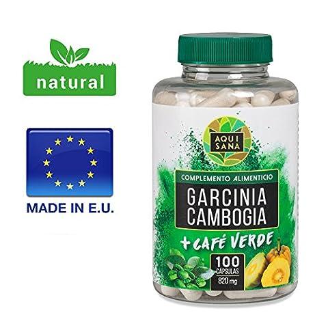 PURE GARCINIA CAMBOGIA PUISSANT COUPE FAIM ET BRULE GRAISSES !! MEILLEUR RAPPORT QUALITE et café vert minceur, brûleur de graisse et coupe-faim, 100 capsules, produit minceur efficace et naturel, extrait de café vert et Garcinia Cambogia en gélules