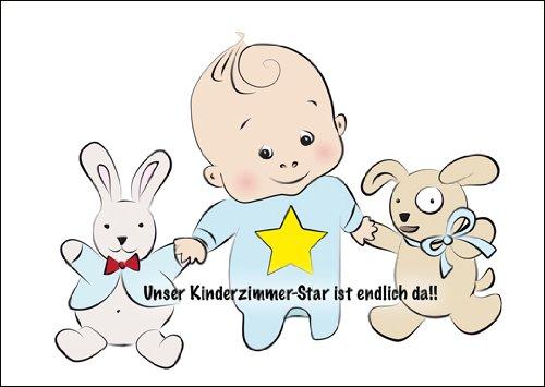 Kartenkaufrausch Im 5er Set: Super Niedliche Geburtsanzeige, Anzeigenkarte zu Geburt eines Jungen mit Baby Boy mit Stern und Stofftieren: Unser Kinderzimmer-Star ist endlich da!