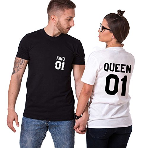 23aa968379bfa King Camiseta Pareja Shirts Queen 2 Piezas T-Shirt 100% Algodón Impresión 01  Blusa