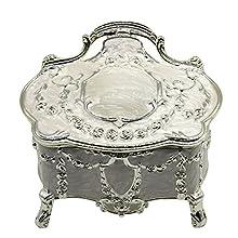 AVESON Luxury Vintage Metal Alloy Jewelry Box Ring Trinket Case Jewellery Organiser Storage Boxes Christmas Birthday Gift, Small