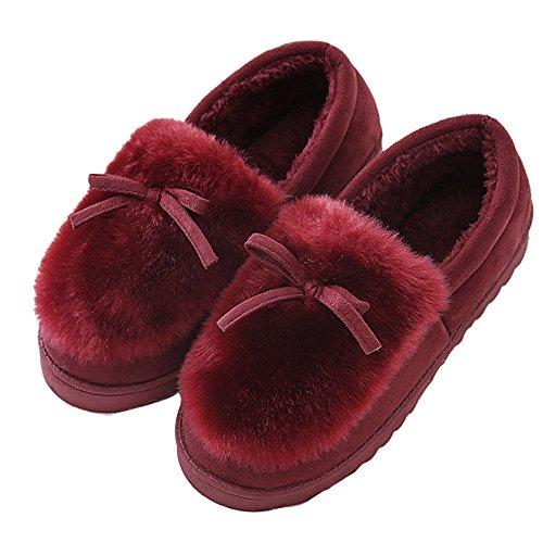 Pantoffeln,Plüsch Hausschuhe,Winter Warme Plüsch Indoor Baumwolle Hausschuhe,Kuschelige Home Rutschfeste Slippers Plüschschuhe für Damen