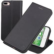 Nouske Funda tipo cartera para iPhone 7 Plus iPhone 8 Plus de 5,5 pulgadas de Apple, negra