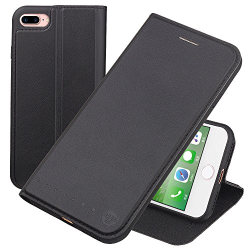 Nouske iPhone 7 Plus iPhone 8 Plus 5.5 Zoll Stand Hülle Etui with Karte Halterung Leder Wallet Klapphülle Flip Book Case TPU Cover Bumper Tasche Ultra Slim, Schwarz