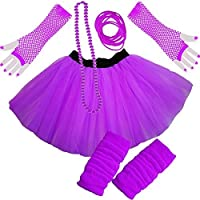 Paper Umbrella ® Ladies Girls NEON TUTU SKIRT LEGWARMERS GLOVES 5 piece set