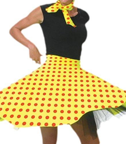 Karnevalsbud - Erwachsene Rock und Schal im Rock´n´Roll Style mit Punkten, M, Gelb-rot