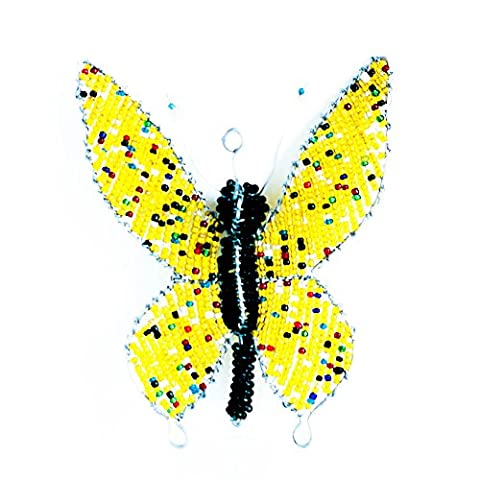 African Wire Beaded Butterfly Ornament
