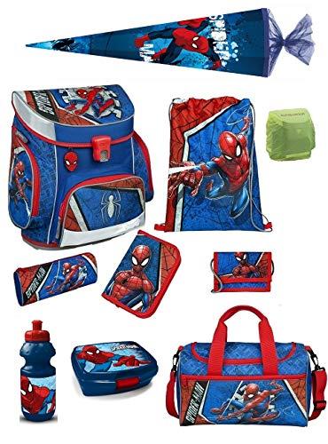 Familando Spiderman Schulranzen-Set 10-teilig mit Federmappe, Sporttasche, Schultüte 85cm und Regenschutz