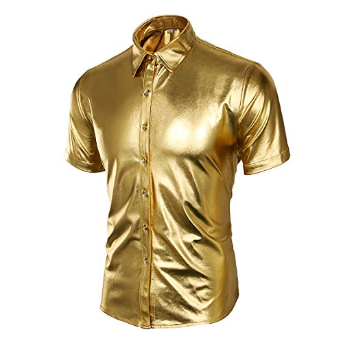 Cusfull Herren Hemd Metallic Glänzend Kurzarmshirt Glitzer Schlank Fit Kostüm für Nightclub Party Tanzen Disco Halloween Cosplay Gold