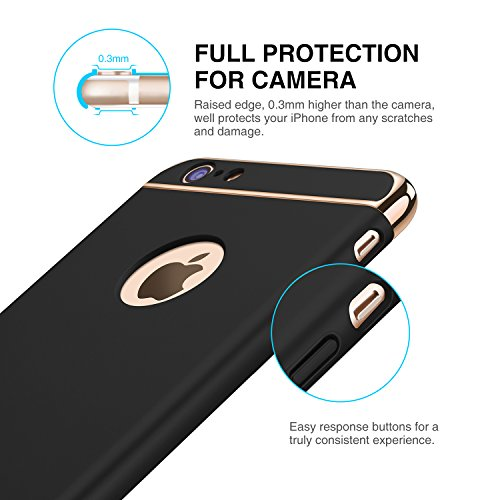 iPhone 6s Hülle, RANVOO Elektroplattierter Kappen mit einer Matter Oberfläche 3-Teilige Styliche Extra Dünne Harte Schutzhülle Case for iPhone 6 Silber,[CLIP ON] Schwarz - Model 2