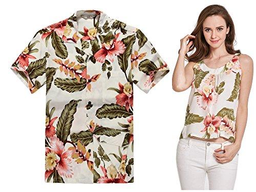 Par-a-juego-Hawaiian-Luau-Outfit-Aloha-camiseta-y-camiseta-sin-mangas-en-Rafelsia-en-2-colores