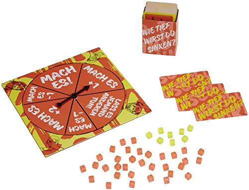 Mattel Games GKB62 - Wie tief wirst du sinken Partyspiel und Auktionsspiel um verrückte Aufgaben für 3 - 8 Spieler, Partyspiele für Erwachsene ab 14 Jahren
