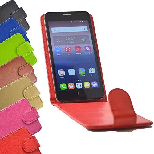 ikracase Flip Case für TP-LINK Neffos C5A Smartphone Handy Hülle Tasche Slide Kleber Schutz Cover Etui Schutzhülle Handytasche Flip Style in Rot Farbe