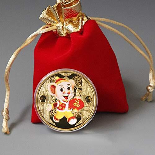 Youhuan 2020, Geschenk zum Neujahr, Ratte, Souvenir-Münze, chinesisches Sternzeichen, Silber, GD, Einheitsgröße