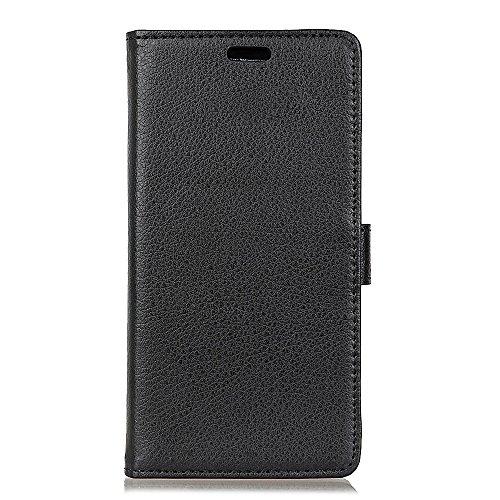 Sunrive Hülle Für WIKO View 2 GO, Magnetisch Schaltfläche Ledertasche Schutzhülle Case Handyhülle Schalen Handy Tasche Lederhülle(Litchi schwarz)+Gratis Universal Eingabestift