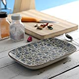 Miah Decor Handcrafted Ceramic Green Flowers Nut Serving Tray Decal ( Set Of 2)