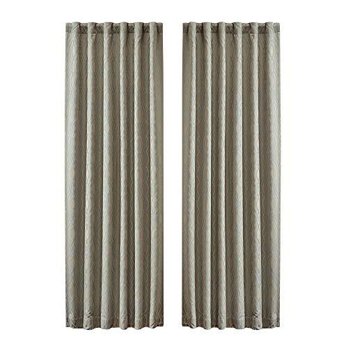 Taupe Ensemble (Chezmoi Collection Desmond 5-teiliges Luxus Jacquard Schmusetuch Set Modern Curtain Set Soft Taupe/Teal)