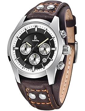 Alienwork Quarz Armbanduhr Multi-funktion Quarzuhr Uhr vintage sport schwarz braun Leder K008GA-03
