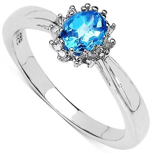 The Blue Topaz Ring Collection Sterling-Silber 925 ovaler Blautopas Diamant-Cluster