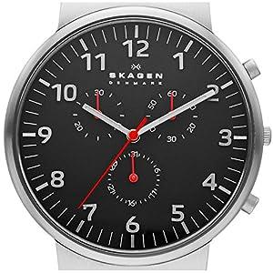 Skagen skw6100 - Reloj de cuarzo para hombre, correa de cuero color negro de Skagen