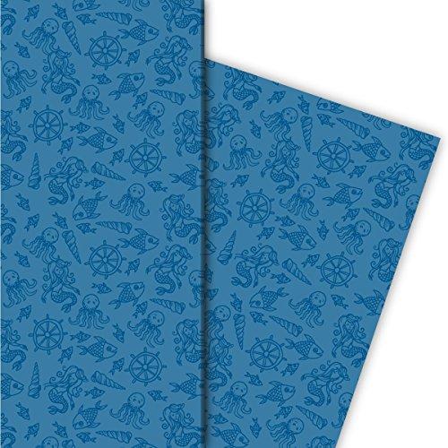 enkpapier mit Fischen, Muscheln und Tintenfischen für tolle Geschenk Verpackung und Überraschungen (4 Bogen, 32 x 48cm), auf blau ()