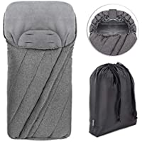 Zamboo Universal Winter Footmuff for Pram, Stroller, Pushchair and Buggy - Non-Slip Thermo Fleece Baby Footmuff with Drawstring Hood and Storage Bag - Grey