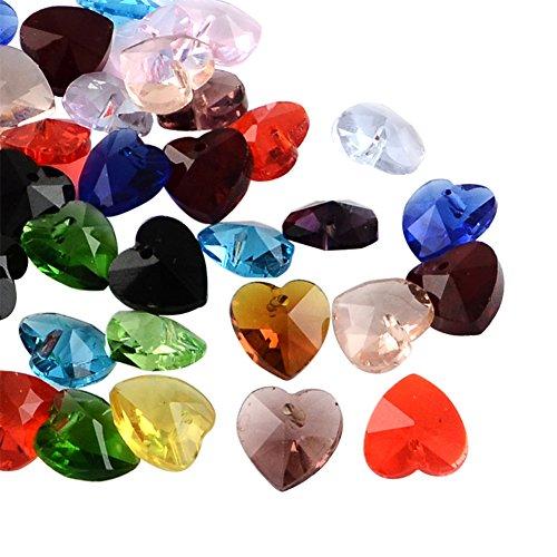 nbeads 100PCS facettiert Kristall klar Glas Heart Charm Anhänger,, 10x 10x 5, Loch: 1mm