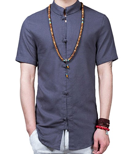 WSLCN Homme Chemisette Chinoise en Lin Kung Fu Chemise Manches Courtes Confortable Gris