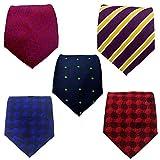 Blacksmith Navy Blue Formal Tie, Purple Formal Tie, Red Formal Tie Formal Tie for Men - Pack of 5 Ties