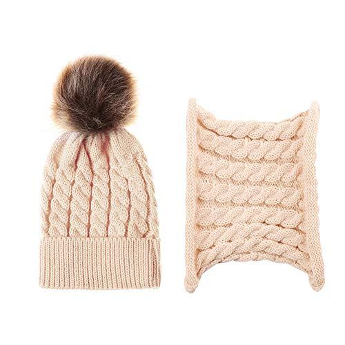 Deykhang Soft Lovely Baby Pompom Woolen Yarn Warm Winter Knitted Beanie Cap Hat Scarf Set beige (Knit Circle Scarf)