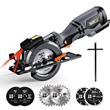 Circular Saw, Tacklife 710W 3500RPM, 6 Blades (120mm & 115mm), Cutting Depth: 90°