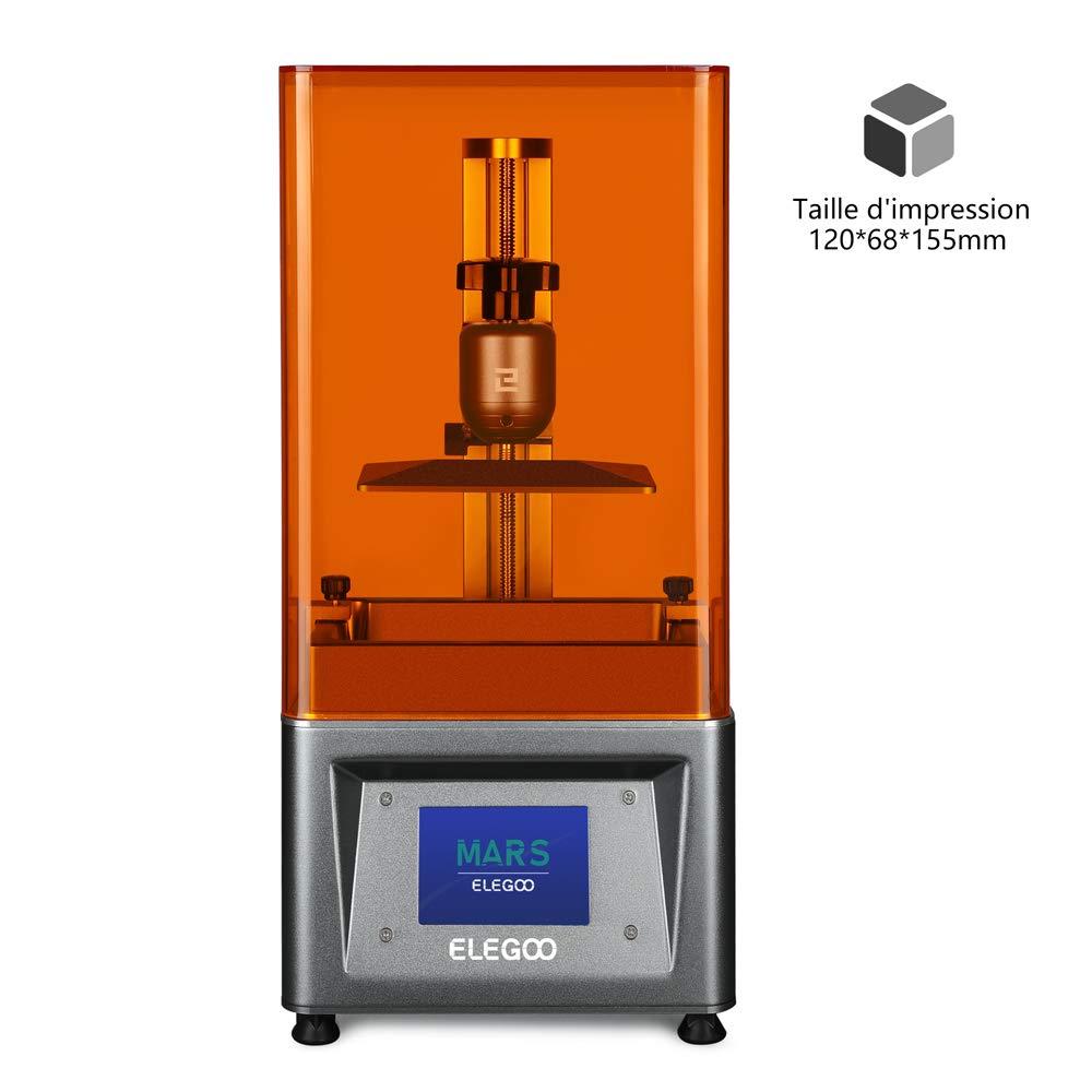 ELEGOO Imprimante 3D LCD UV à Photopolymérisation Mars avec écran Couleur Smart Touch de 3,5 » Impression Hors Ligne 3D Printer Taille d'impression 4.72″(L) x 2.68″(W) x 6.1″(H) – Argent