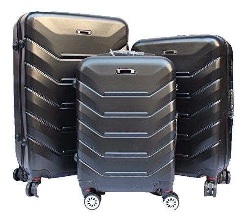 Set 3 valigie rigide abs + policarbonato con 8 ruote alka travel' (nero, xl)