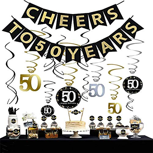Sayala 50. Geburtstag Party Dekoration Kit - 50. Geburtstag Spirale Deckenhänger,Cheers zu 50 Jahre Banner Golden Bunting,50. Geburtstag Cake Topper mit 50. Geburtstag Weinflaschen-Etiketten