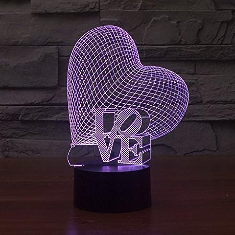 Herz Liebe bunte 3D gradient zurückhaltende Switch visuelle Illusion der Lichter LED leuchtet Acryl (Illusion Glas Schiff)