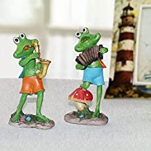 Incredible Gifts Home Décor Musical Frog Set of 2 - Accordian and Sexophone (12.5x6.5cm)
