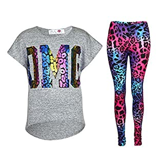 A2Z 4 Kids® Kids Girls OMG Print T Shirt Top & Wet Look Leopard Legging Outfit Set Age 7 8 9 10 11 12 13 Years